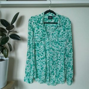 Anthropologie Maeve Green Floral Button-Down - L